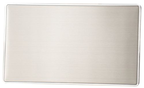 G&H LSS32 Screwless Brushed Steel 2 Gang Double Blank Plate